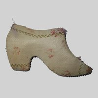 A Rare 19th Century Shoe Pincushion Made With early 19th Century Fabric