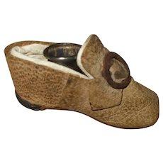 A Miniature Victorian Style Shoe Thimble Holder and Tiny Thimble