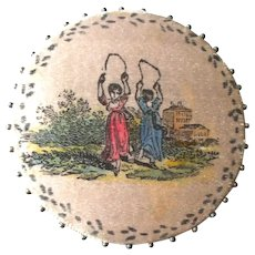 An Unbelievable Treasure - A Fine and Wonderful  Hand Painted Regency Pin Cushion C1820