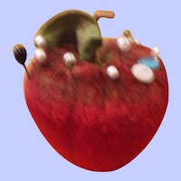 A Luscious Velvet Apple Pin Cushion Early 20th C