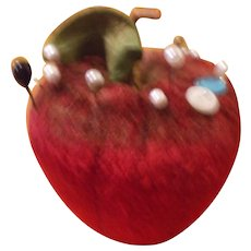 A Luscious Velvet Apple Pin Cushion Early 20th C