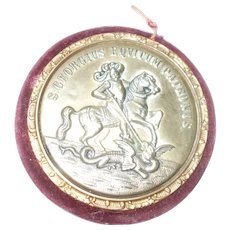 A good size  19th Century St. George & The Dragon Gilt Metal Pincushion & Mirror