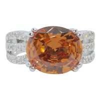 Sterling Large Orange & Clear CZ Stone Ring~ Size 9.25