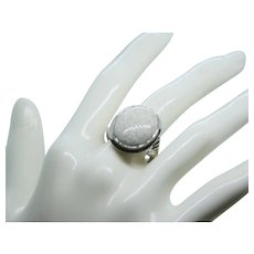 Sterling Large Oval White Agate Designed Ring~Size 7.5