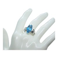 Sterling Marquise Cut Blue Topaz Ring~ Size 7.5