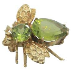 14k Gold Peridot Bee Brooch/Pin