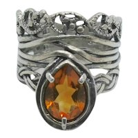 Or Paz Madeira Citrine Pear Shaped Sterling Ring~ Size 7