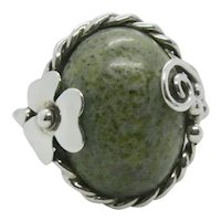 Sterling Connemara Marble Stone Shamrock Ring~ Size 7