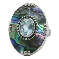 Sterling Merav Indonesia Blue Topaz & Abalone Shell Ring~ Size 6