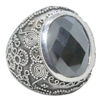 Sterling Silver Faceted Hematite Stone Ring- Size 6