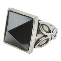 Sterling Barry Kieselstein Cord KC Studio 2011 Hematite Pyramid Ring- Size 6