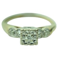 Antique 14k Solid Gold & Diamond Engagement/ Promise Ring