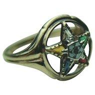 Vintage Eastern Star 10K Yellow Gold & Multi Stone Set Ring