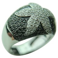 14k Solid White Gold Starfish Design Black & White Diamonds Fine Ring