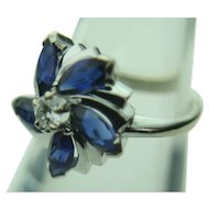 14k Solid White Gold Diamond & Sapphire Flower Ring