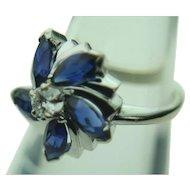 14k Solid White Gold Diamond & Sapphire Flower Ring