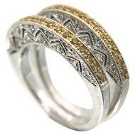 MICHAEL DRESCHLER MDJ Pave Yellow diamonds & Sterling Silver Wedding BandS - Set of 2