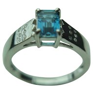 9k Solid White Gold Blue Topaz & Recessed Diamond Fine Ring