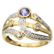 Designer STS 14k Solid Yellow Gold Tanzanite & Diamond Fine Ring
