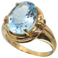 14k Solid Gold & Blue Topaz & Diamond Ring