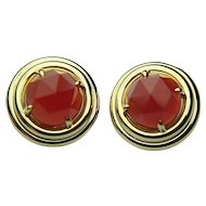 Vintage SF GUMPS 18k Solid Gold & Faceted Carnelian Earrings