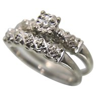 Vintage 18k Solid White Gold Diamond Wedding Ring Set