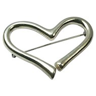Sterling Silver Heart Brooch Pin