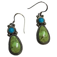 Sterling Navajo Green & Blue Turquoise Running Bear Earrings