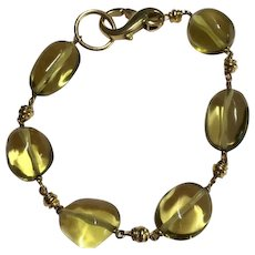 14k Yellow Gold And Citrine Bead Bracelet