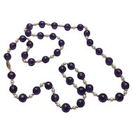 14k Yellow Gold Amethyst & Pearl Beaded Necklace~ 30""