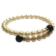 14k Yellow Gold Pearl & Black Onyx Wrap around bendable bracelet