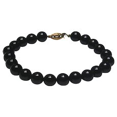 14k Yellow Gold Black Onyx Bead Bracelet~ 7.5""