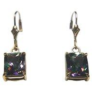14k Yellow Gold Mystic Topaz Dangle Earrings