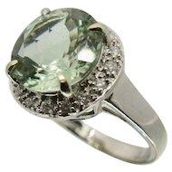 18k White Gold Aquamarine & Diamond Ring