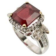 18k White Gold Ruby & Diamond Ring
