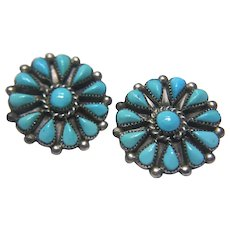 "Vintage Sterling Silver Navajo Turquoise ""Phyllis"" Earrings"