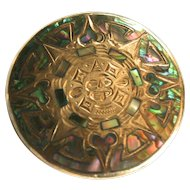 Vintage JFCM Sterling Silver & Abalone Mexican Sundial Pendant/ Brooch
