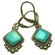 "Native American ""QTO"" Signed Turquoise Dangle Earring"