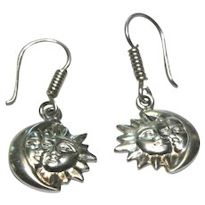 Sterling Silver Moon & Sun Dangling Earrings