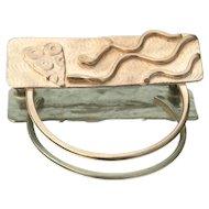 Katie Enewold Modernist Sterling Silver Hoop Brooch/Eyeglass holder