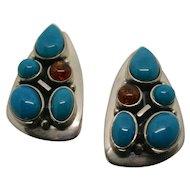Jay King Sterling Silver Turquoise & Amber Pierced Earrings