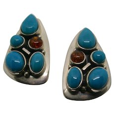 Jay King Sterling Silver Turquoise & Amber Pierced Earrings