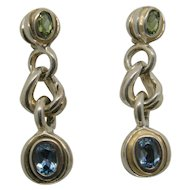 David Wysor Sterling Blue Topaz & Peridot Drop Earrings