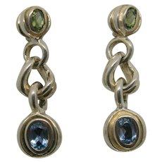 David Wysor Sterling Blue Topaz & Peridot Drop Earrings