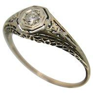 14k Art Deco Era Diamond Engagement/ Promise Ring
