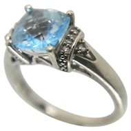 Sterling Silver Blue Topaz & Diamond  SUN Ring