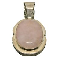 Sterling Silver Jay King Large Rose Quartz Pendant