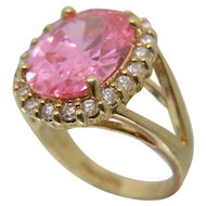 Camrose & Kross JBK Pink Simulated Kunzite Jacqueline Kennedy Replica Ring