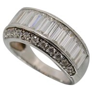 Sterling Silver MEDA Baguette & Round CZ Ring