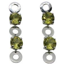 Sterling Silver & Citrine Dangle Earrings